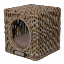 Happy-House Rieten hocker kubus One Size naturel 41x41x46 cm